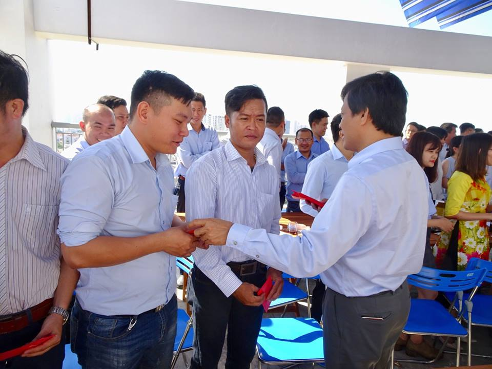 a new year grand opening ceremony in the joyful atmosphere in the office in ho chi minh city and construction sites in all 3 regions of the country